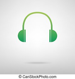Headphones. Green icon