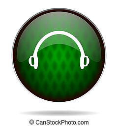 headphones green internet icon
