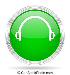 headphones green modern design web glossy icon