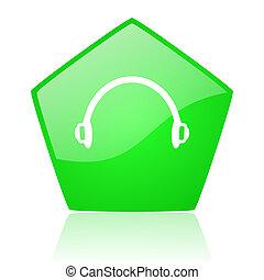 headphones green pentagon web glossy icon