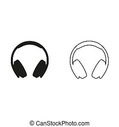 Headphones - green vector icon