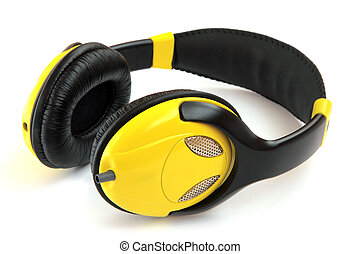 Headphones yellow isolated on a white background.