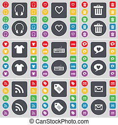 Headphones, Heart, Trash can, T-Shirt, Keyboard, Chat bubble, RSS, Tag, Message icon symbol. A large set of flat, colored buttons for your design.