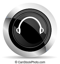 headphones icon, black chrome button