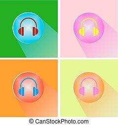 Headphones icon button vector