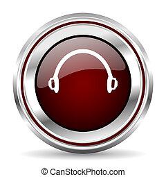 headphones icon chrome border round web button silver ...