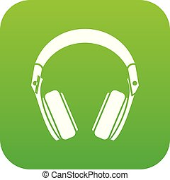 Headphones icon digital green