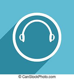 headphones icon, flat design blue icon, web and mobile app ...