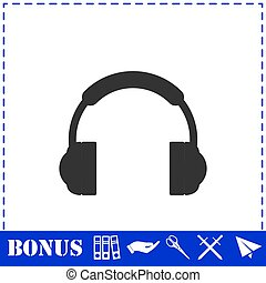 Headphones icon flat