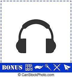 Headphones icon flat