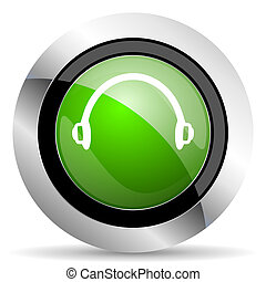 headphones icon, green button