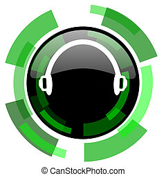 headphones icon, green modern design isolated button, web and mobile app design illustration