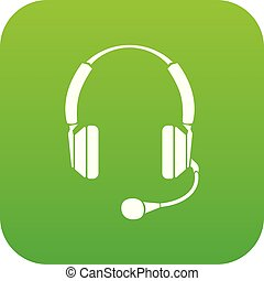 Headphones icon green vector