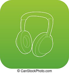 Headphones icon green vector