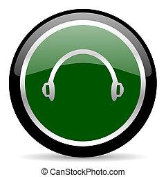 headphones icon - green web button