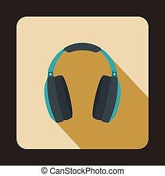 Headphones icon in flat style