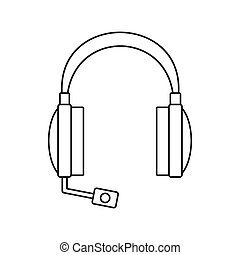 Headphones icon in outline style