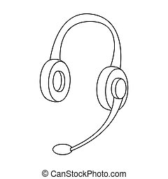Headphones icon in outline style isolated on white background. Personal computer accessories symbol stock bitmap illustration.