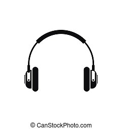 Headphones icon in simple style on a white background