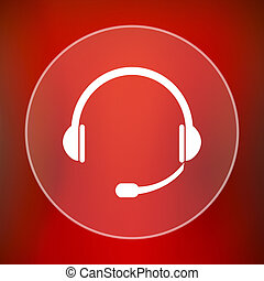 Headphones icon. Internet button on red background.