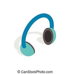 Headphones icon, isometric 3d style