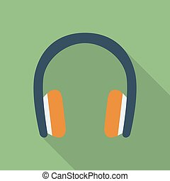 Headphones icon. Modern Flat style with a long shadow