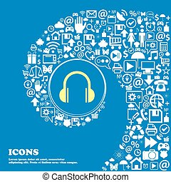 headphones icon . Nice set of beautiful icons twisted spiral into the center of one large icon. Vector