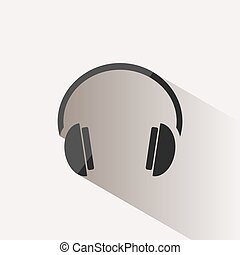 Headphones icon on a beige background with shade