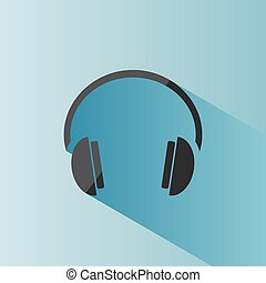 Headphones icon on a blue background with shade