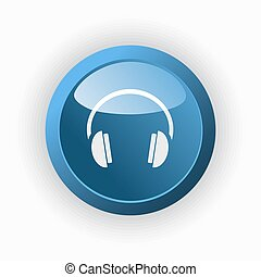 Headphones icon on a blue button and white background