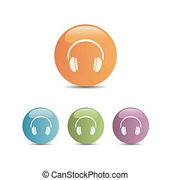 Headphones icon on a colored buttons and white background