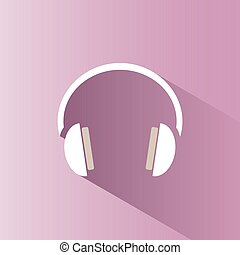 Headphones icon on a pink background with shade