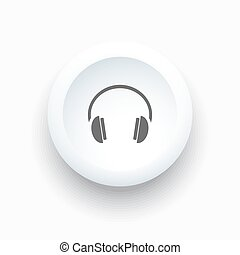 Headphones icon on a white button and white background