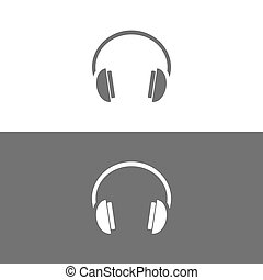 Headphones icon on black and white background
