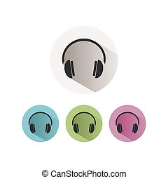Headphones icon on colored buttons and white background