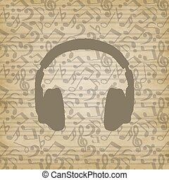 headphones icon on grunge background. Music background with ...