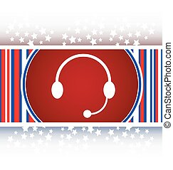 Headphones icon on round internet button original illustration