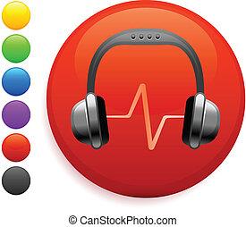 headphones icon on round internet button original vector...