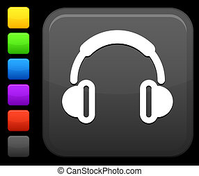 Headphones icon on square internet button - Original vector...