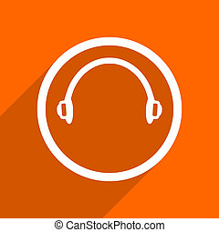 headphones icon. Orange flat button. Web and mobile app design illustration