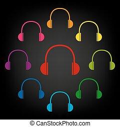 Headphones icon set
