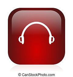 headphones icon - square red glossy icon