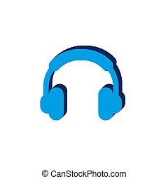 headphones icon vectorisometric. 3d sign isolated on white background.
