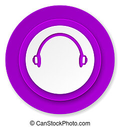 headphones icon, violet button