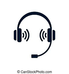 Headphones icon with microphone and sound symbol