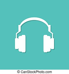 Headphones icon with shadow in a flat design. Vector illustration