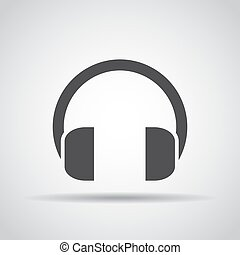 Headphones icon with shadow on a gray background. Vector illustration