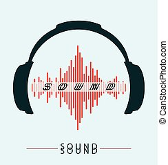 Headphones Icon With Sound Wave Beats Vector flat illustration