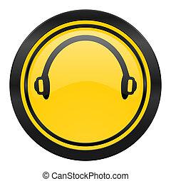 headphones icon, yellow logo,