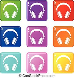 Headphones icons 9 set